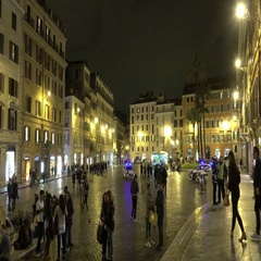 The Spanish Square in Rome by night called Piazza Spagna Stock Footage