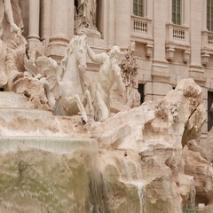 The beautiful Fountain of Trevi in the City of Rome - a famous landmark Stock Footage