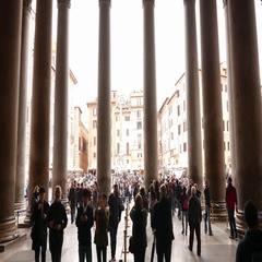 Inside the Pantheon building in Rome - popular place in Rome Stock Footage