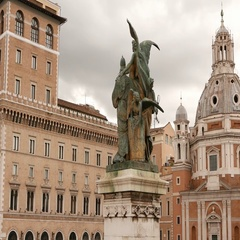 Statue at National Monument Vittorio Emanuele in Rome Stock Footage