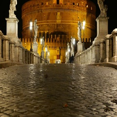 The pedestrian bridge over River Tiber to Castel Sant Angelo - the Angels Castle Stock Footage