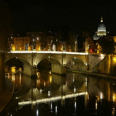 Amazing view over River Tiber in Rome by night with Vatican and Saint Peters Stock Footage