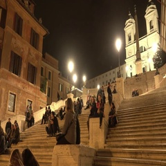 The Spanish Steps in Rome - very popular place in the historic district Stock Footage