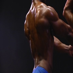 African American Man flexing bodybuilding muscles Stock Footage