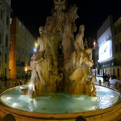 Beautiful fountain at Navona Square in Rome called Fontana di Fiumi Stock Footage