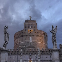 The Mausoleum of Hadrian known as Castel Sant Angelo - Angels Castle in Rome Stock Footage