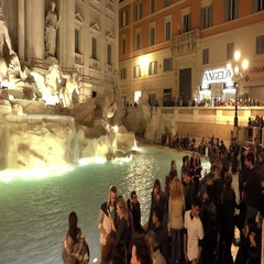 Tourist attraction in Rome - The fountains of Trevi - Fontana di Trevi Stock Footage