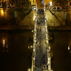 Aerial view from Angels Castle over the beautiful pedestrian bridge Sant Angelo Stock Footage