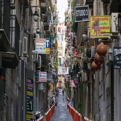 Naples Italy Inner City Side Alley Street Stock Footage