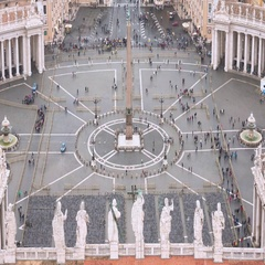 The big Square of the Vatican - aerial view from St Peter s Basilica Stock Footage