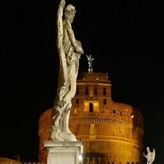 The angels statues on the pedestrian bridge to Castel Sant Angelo in Rome Stock Footage