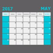 May 2017 calendar week starts on Sunday Stock Illustration