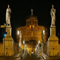 Angels Bridge to Castel Sant Angelo - the amazing Mausoleum and Angels Castle in Stock Footage