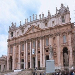Saint Peters Basilica in the center of the Vatican in Rome Stock Footage