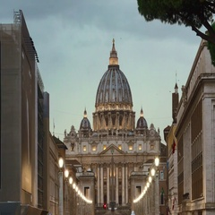 Beautiful alley leading to Peters Basilica at Vatican in Rome Stock Footage