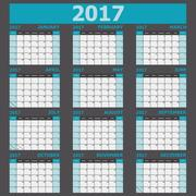 Calendar 2017 week starts on Sunday (12 months set) Stock Illustration