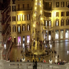 Spanish Steps at Spanish square in Rome - Spagna Stock Footage