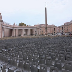 Vatican Square at Saint Peters Basilica in Rome - important destination for Stock Footage