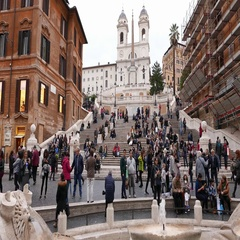 The Spanish Steps in Rome at Spagna square - important tourist attraction Stock Footage