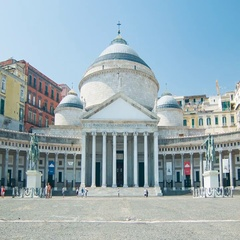 Naples Italy Piazza Neo-classical Royal Palace Stock Footage