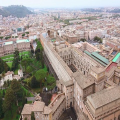 The Vatican Museums in Rome - wonderful aerial shot from Saint Peters Stock Footage