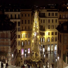 Nice evening view from Spanish steps in Rome - Spagna Stock Footage