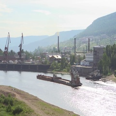 Barge on Lena River Stock Footage