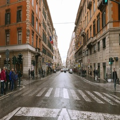 Street view in the city of Rome - Via Nazionale leading to National Monument Stock Footage