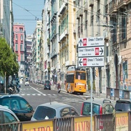 Naples Italy City Street Scene with Public Transportation Stock Footage