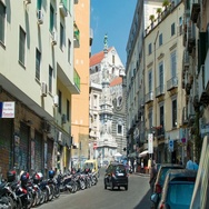 Naples Italy Street Scene Towards Piazza del Gesù Nuovo Stock Footage