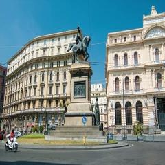 Naples Italy Monumento a Vittorio Emanuele II Stock Footage