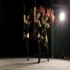 Three dancing girls in the style of Burlesque Stock Footage