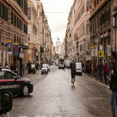 Famous street in Rome - Via Nazionale leading to National Monument Stock Footage