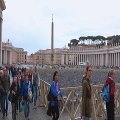 The Square at Vatican in Rome - popular place for pilgrims Stock Footage