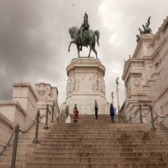 Beautiful steps at National Monument Vittorio Emanuele in Rome Stock Footage
