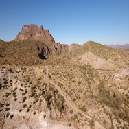 High Angle Aerial Establishing Shot of the Arizona Desert  	 Stock Footage
