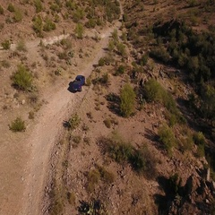 Aerial View of Truck Off Roading in the Arizona Desert  Stock Footage