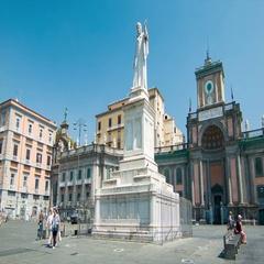 Naples Italy Foro Carolino Statue Stock Footage