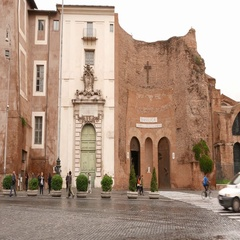 Basilica at Repubblica Square in the city of Rome Stock Footage