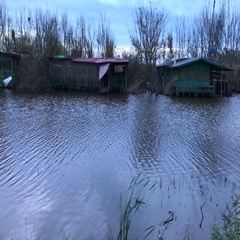 Old fishermen houses situated on the small river, filmed in the fall wit Stock Footage