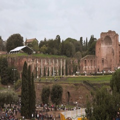 Famous Forum Romanum area in the city of Rome - a tourist attraction Stock Footage