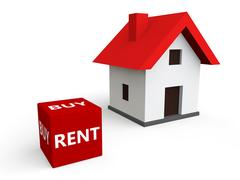 3d render of house buy or rent concept Stock Illustration