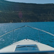 Bow of a Boat on Navajo Lake NM Stock Footage