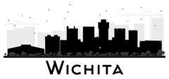 Wichita City skyline black and white silhouette Piirros