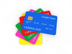 3d pile of credit cards Stock Illustration