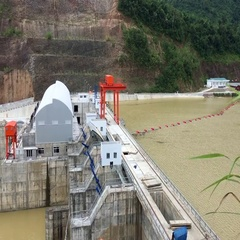 View of hydroelectric power plant in vietnam Stock Footage