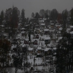 A small village on mountain during a snowy day Stock Footage