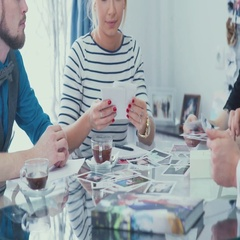 A group of beautiful and creative people: two women and two men Stock Footage
