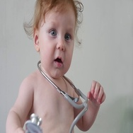 Cute Baby With Stethoscope In Hands Stock Footage