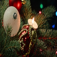 Christmas tree with candles and baubles Stock Footage